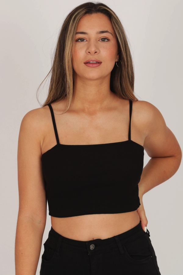 2BASIC RIBBED CROP TOP BLACK