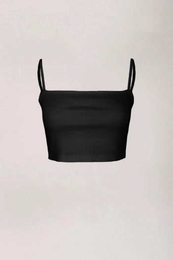 BASIC RIBBED CROP TOP BLACK