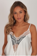 2DEEP V-NECK LACE TOP WHITE