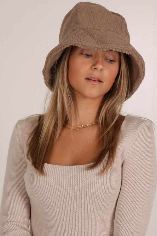 2BUCKET HAT TEDDY TAUPE