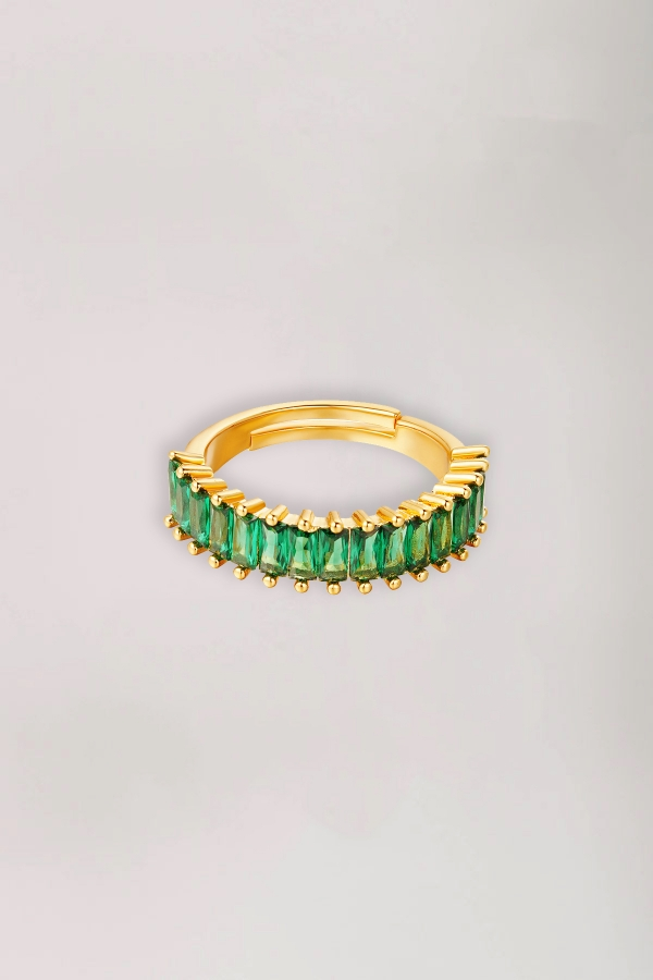 2Adjustable colorful gems ring green