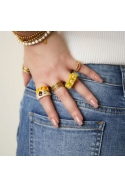 2Candy Ring Three Studs yellow