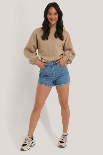 NA-KD SHORT DENIM SHORTS LIGHT BLUE