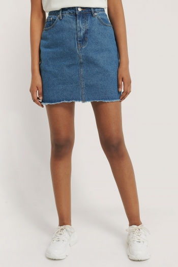 NA-KD MINI DENIM SKIRT MID BLUE